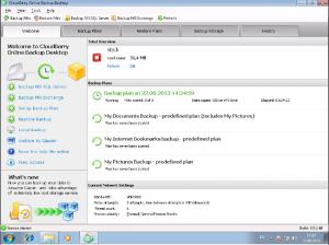 screenshot of CloudBerry online backup window