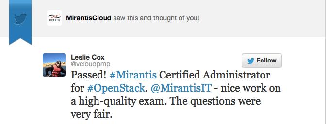 Mirantis Training in Twitter
