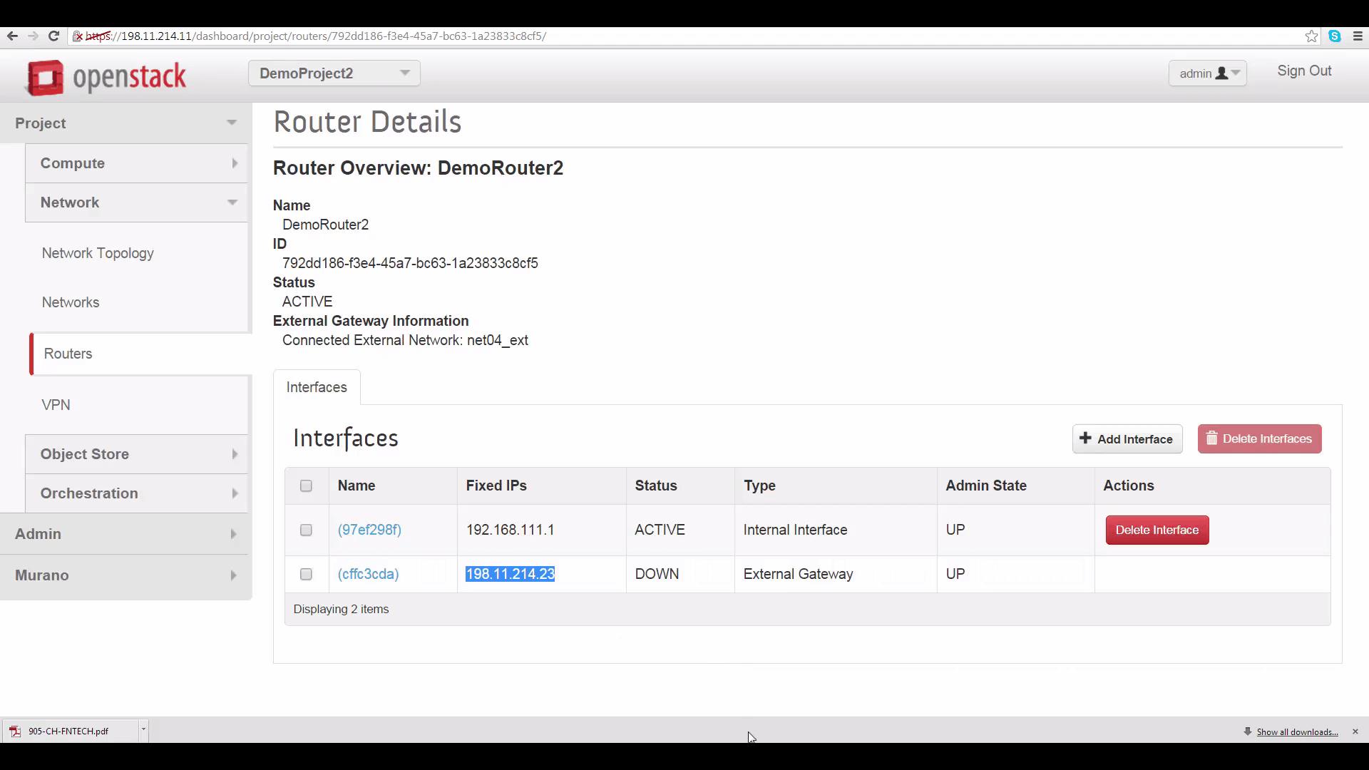 screenshot of Router Details for DemoProject2/Cloud B
