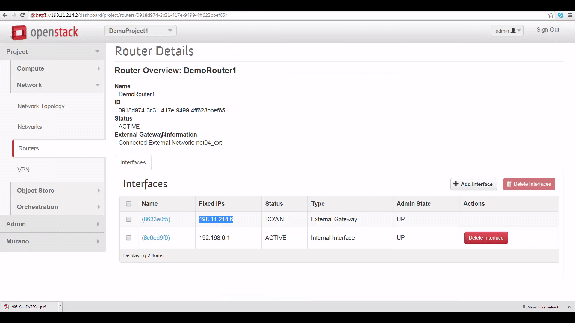 screenshot of DemoRouter1's Router Details tab with DemoProject1/Cloud A's external router IP address highlighted