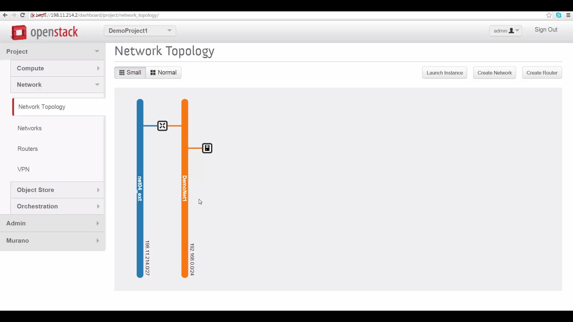 screenshot of DemoProject1's network topology on Cloud A