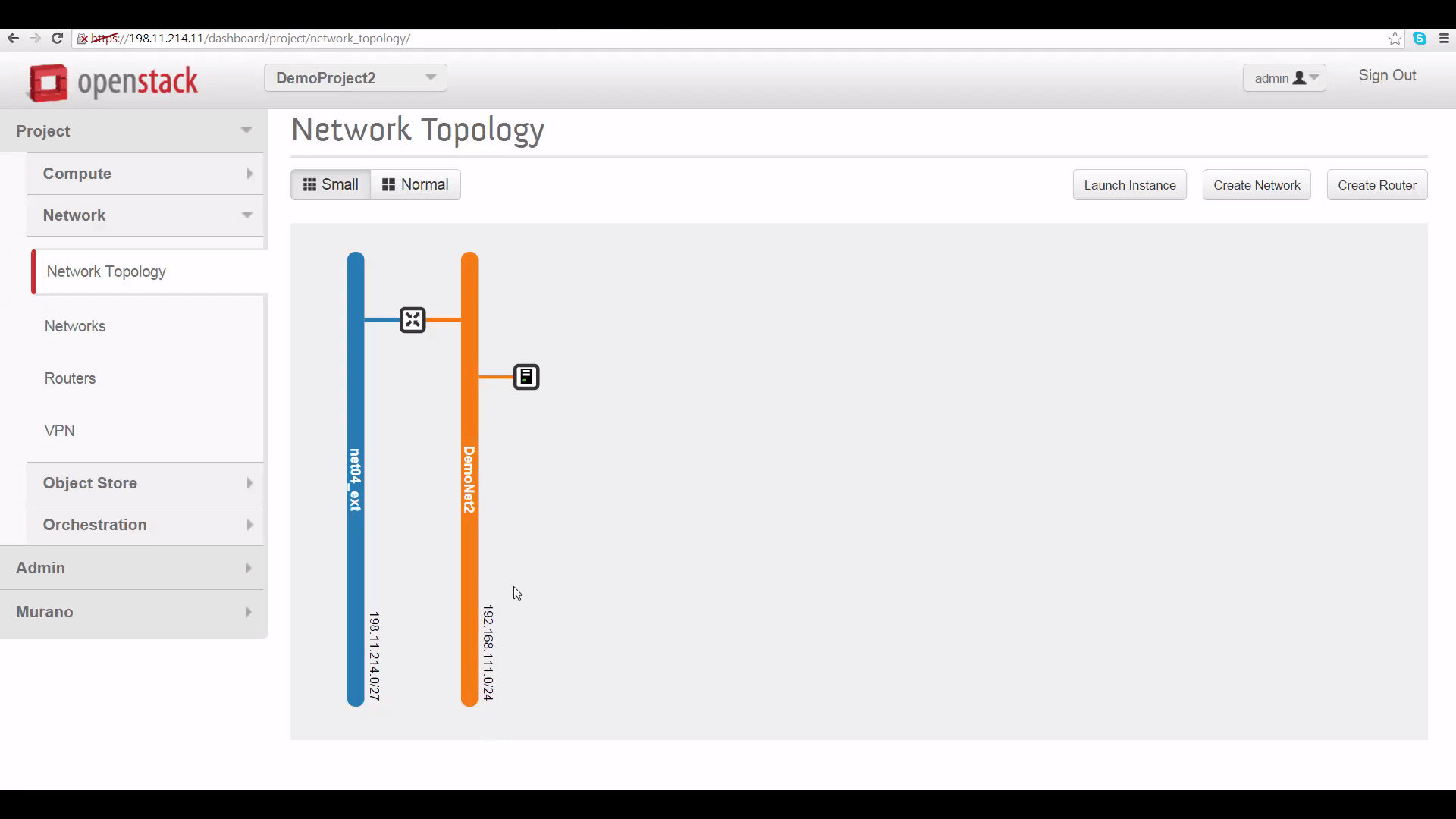 screenshot of DemoProject2's network topology on Cloud B