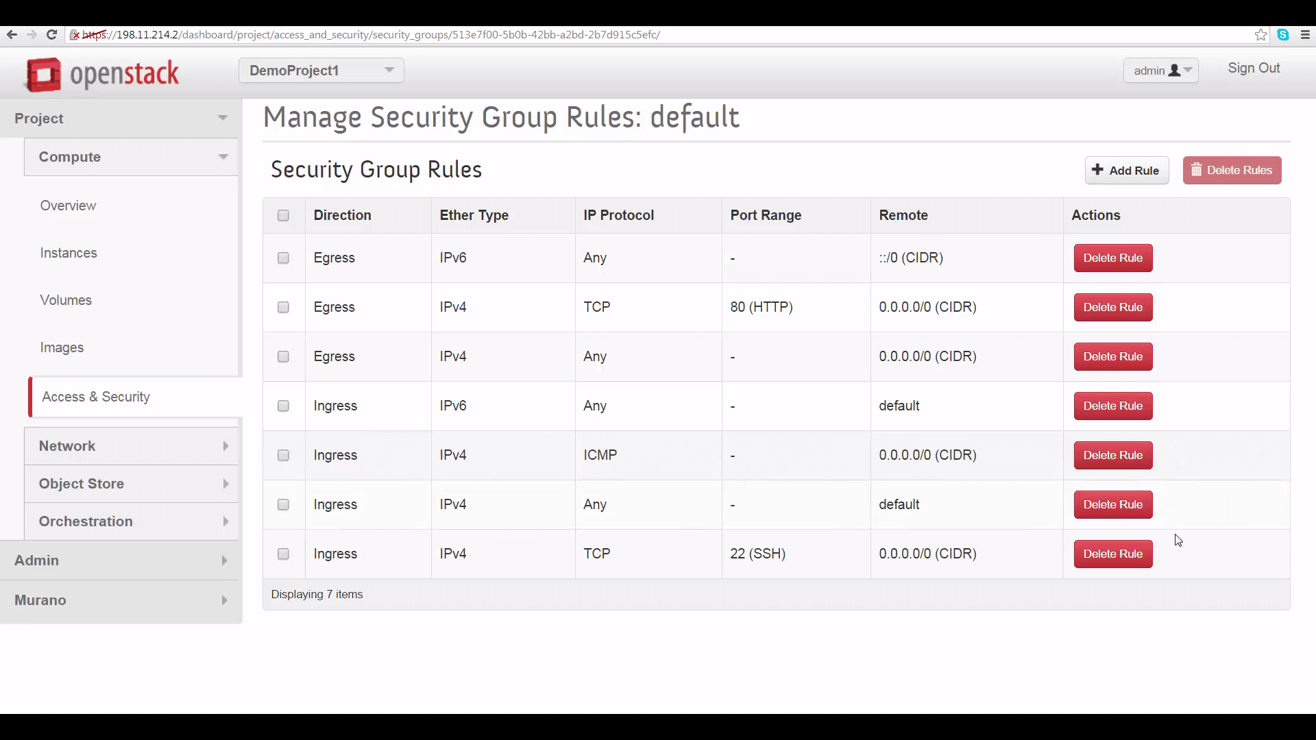 screenshot showing list of Ingress rules applied to each Projects' default Security Group