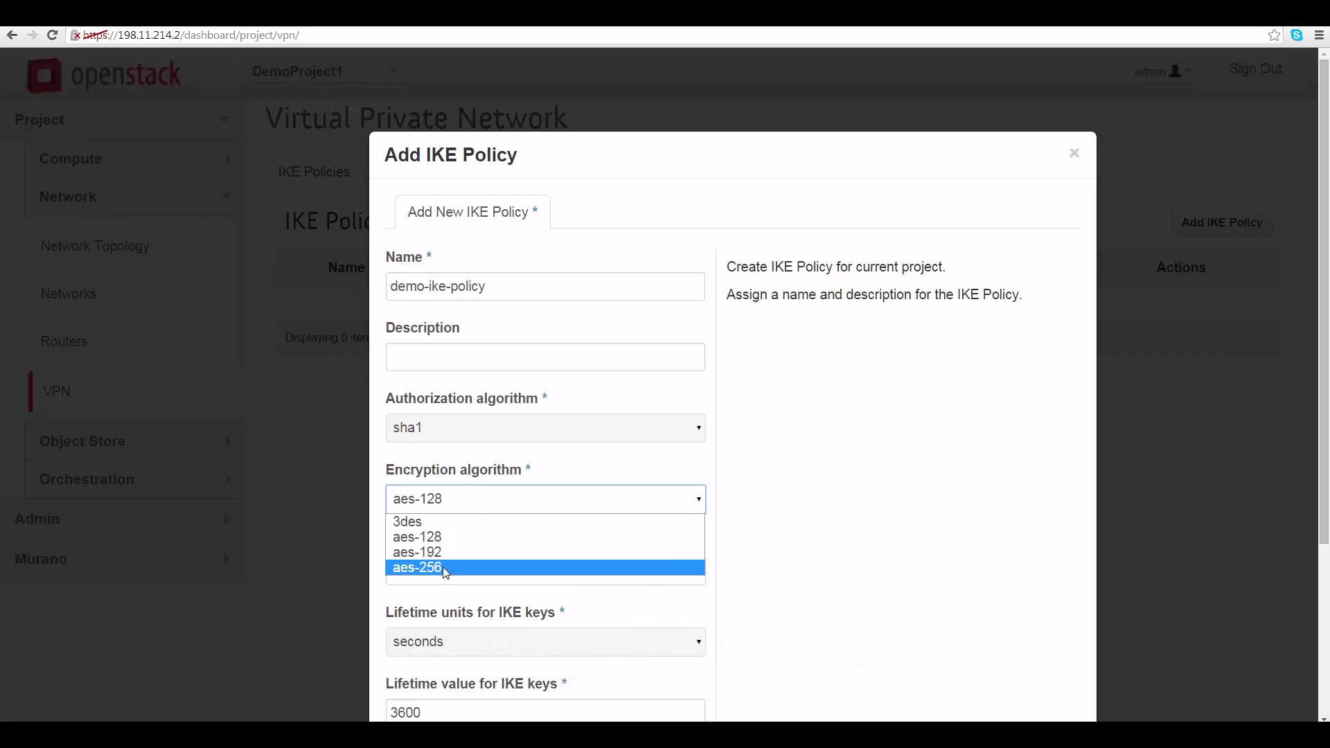 screenshot of Add IKE Policy window in the Mirantis OpenStack Express dashboard