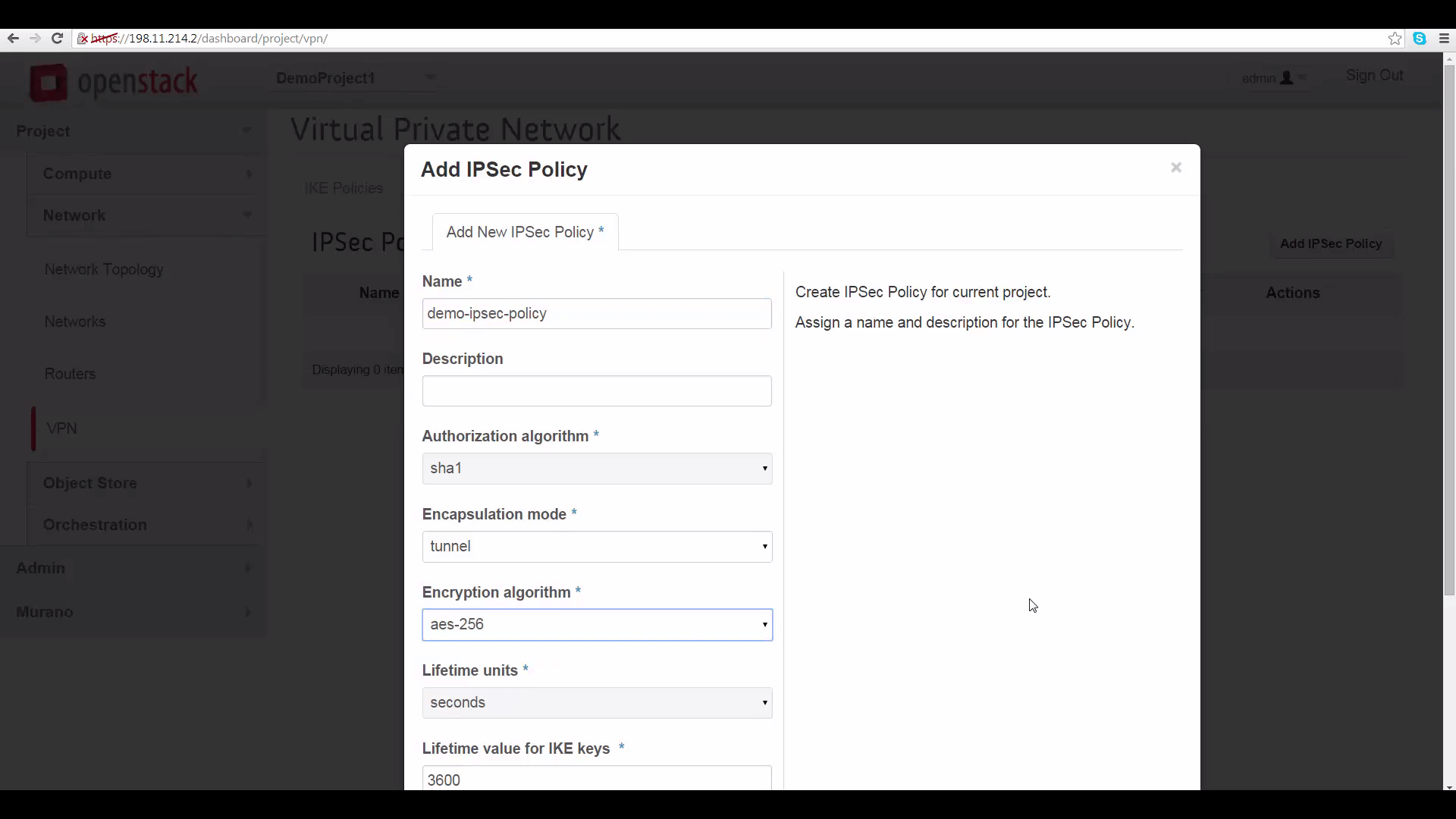 screenshot of Add IPSec Policy window in Mirantis OpenStack Express dashboard