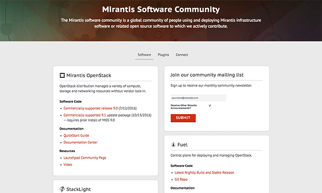 mirantis software community site