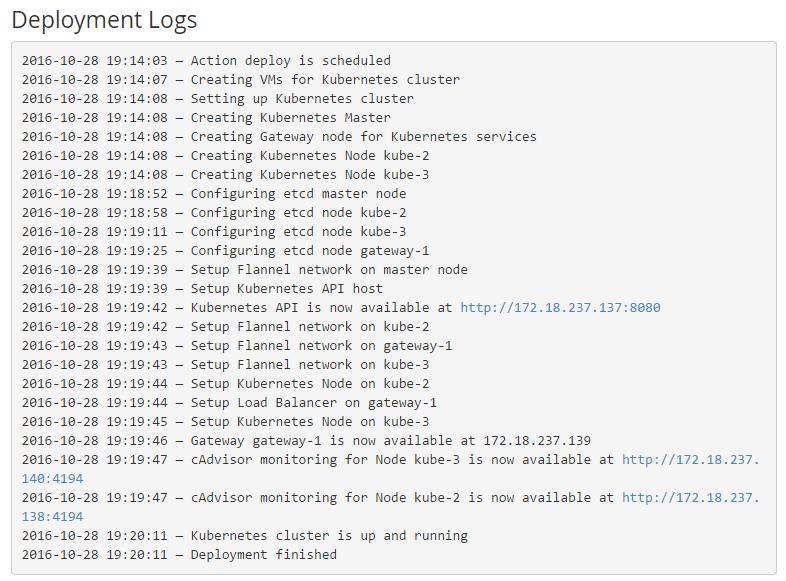 deployment logs