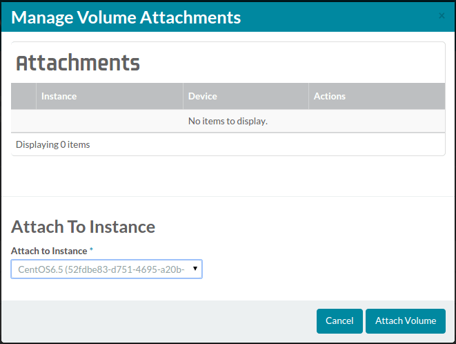 manage volume attachments landing page