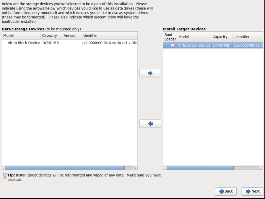 selecting a disk to install on target devices screenshot