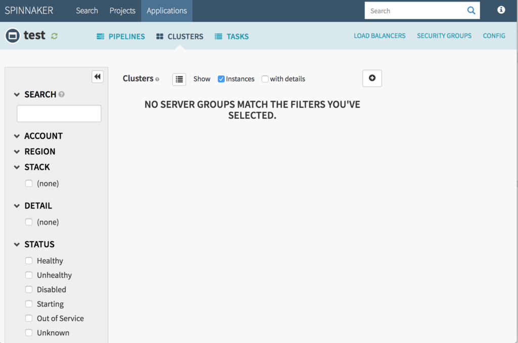 Spinnaker clusters page