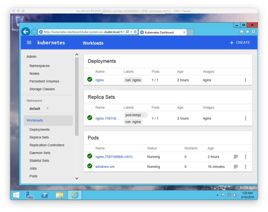 A screenshot of Kubernetes workloads