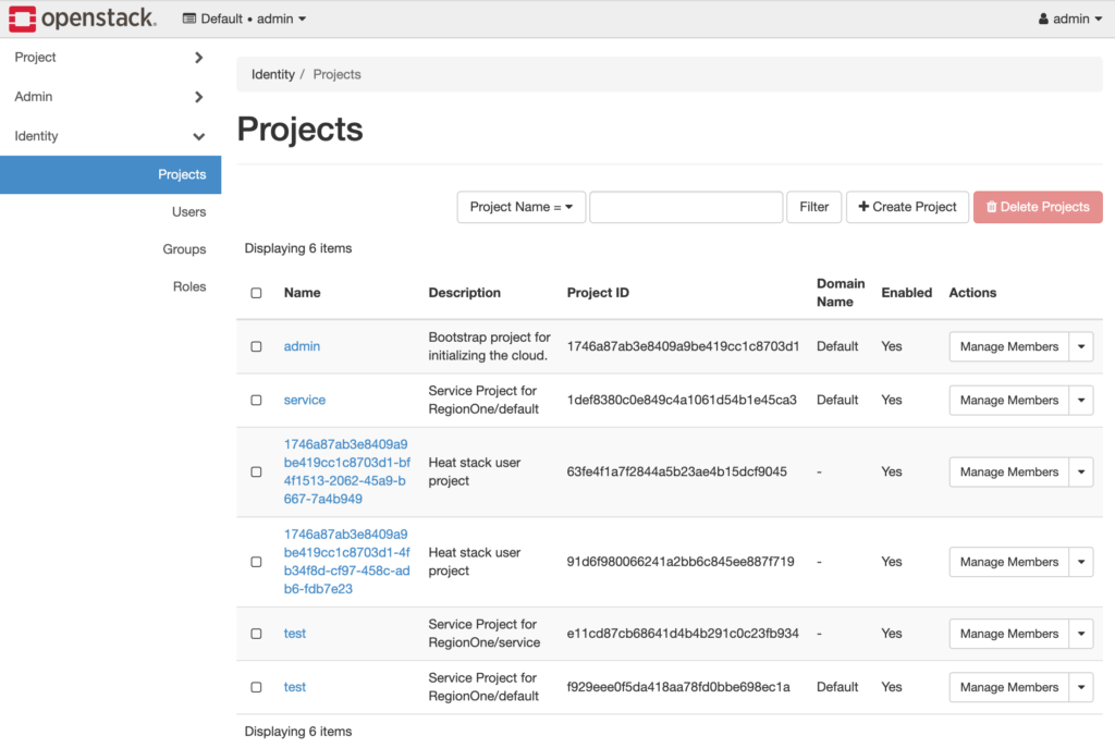 screenshot of OpenStack UI dashboard with projects tab selected showing functional clusters partially populated