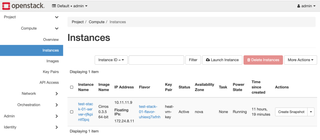 screenshot of OpenStack UI dashboard with instances tab selected showing a functional VM