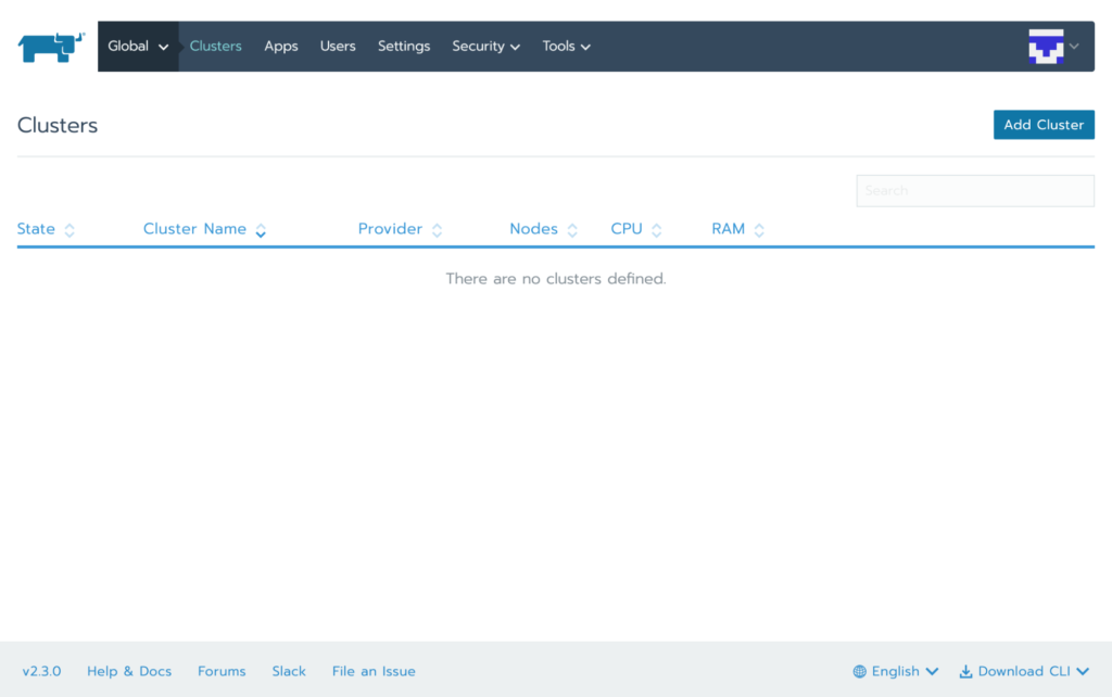 screenshot of Rancher dashboard with add cluster button