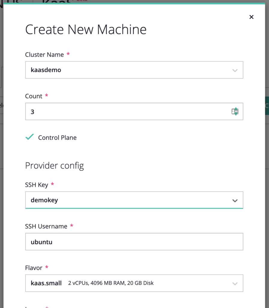 screenshot of Create New Machine window for the new machine just created
