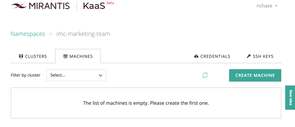 screenshot of Machine tab with progress circle spinning next to the Create Machine button