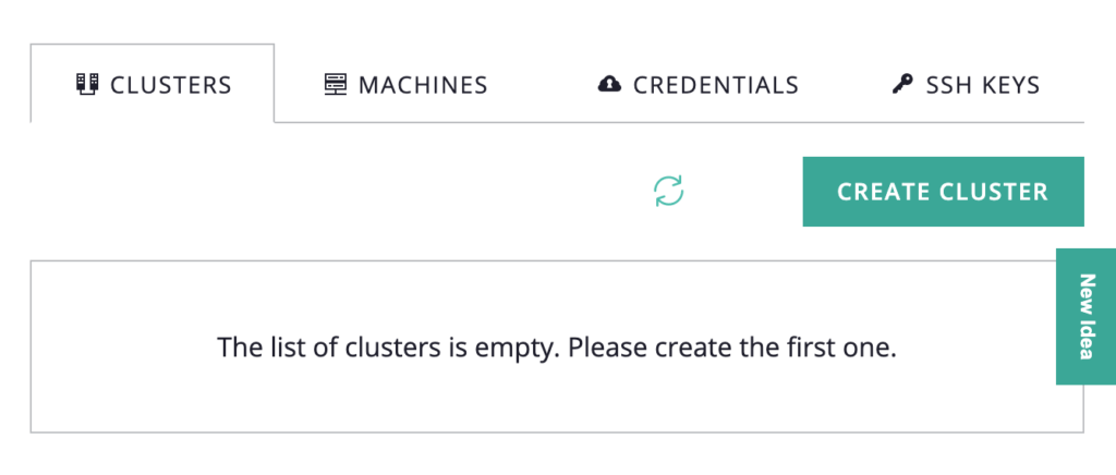 screenshot of Clusters tab with progress circle spinning next to the Create Cluster button