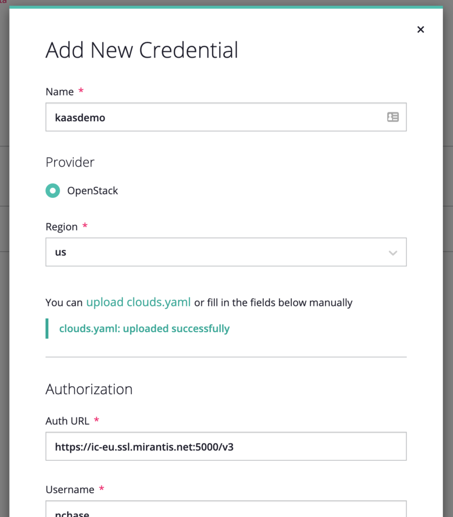 screenshot of Add New Credential Window with clouds.yaml link already uploaded and all Credential fields populated
