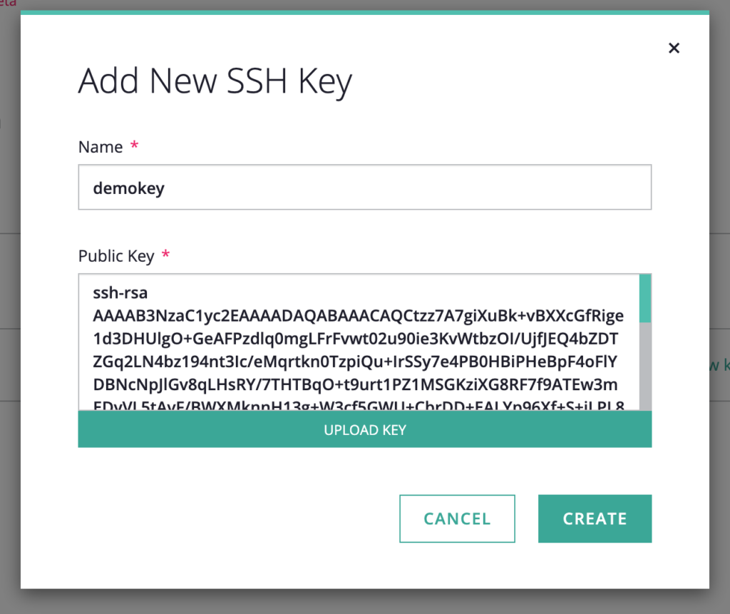 screenshot of Add New SSH Key window with the Name and Public Key sections already filled out
