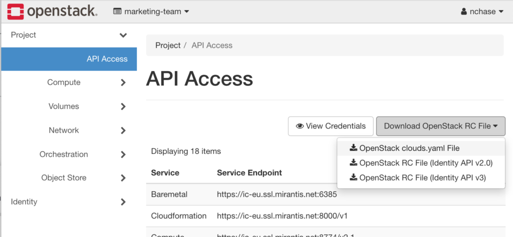 screenshot of OpenStack Horizon's API Access tab with OpenStack clouds.yaml File selected from Download OpenStack RC File dropdown