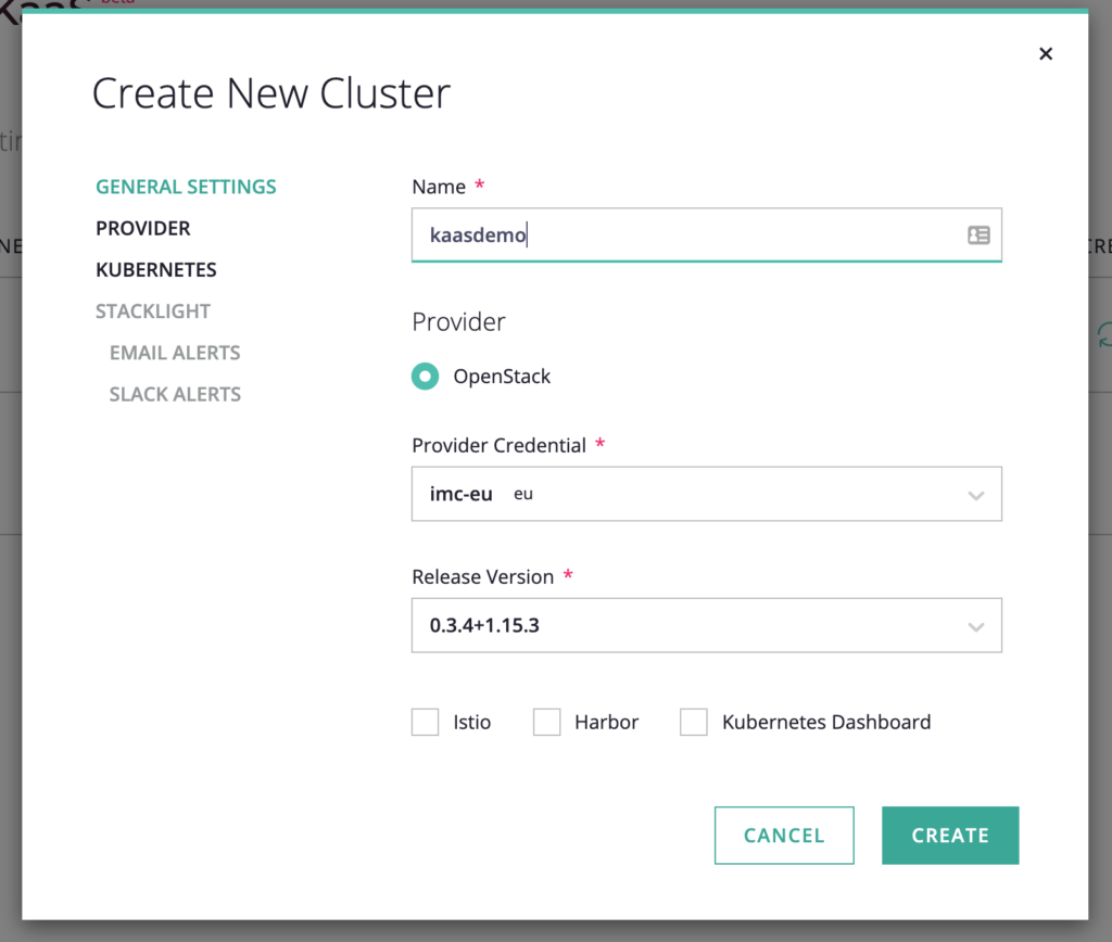 screenshot of Create New Cluster window for the empty cluster just created