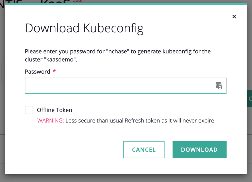 screenshot of Download Kubeconfig window with blank dialog box for user to enter his or her password