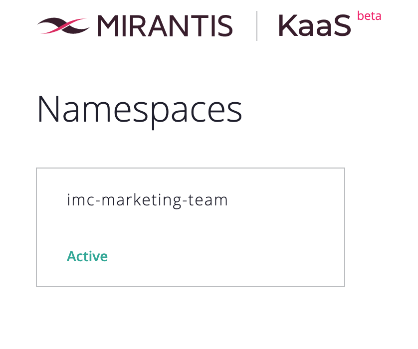 screenshot of Namespaces window depicting imc-marketing-team as active