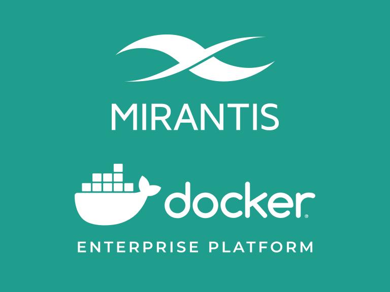 The Mirantis logo stacked on top of the Docker Enterprise Platform logo on a teal background.