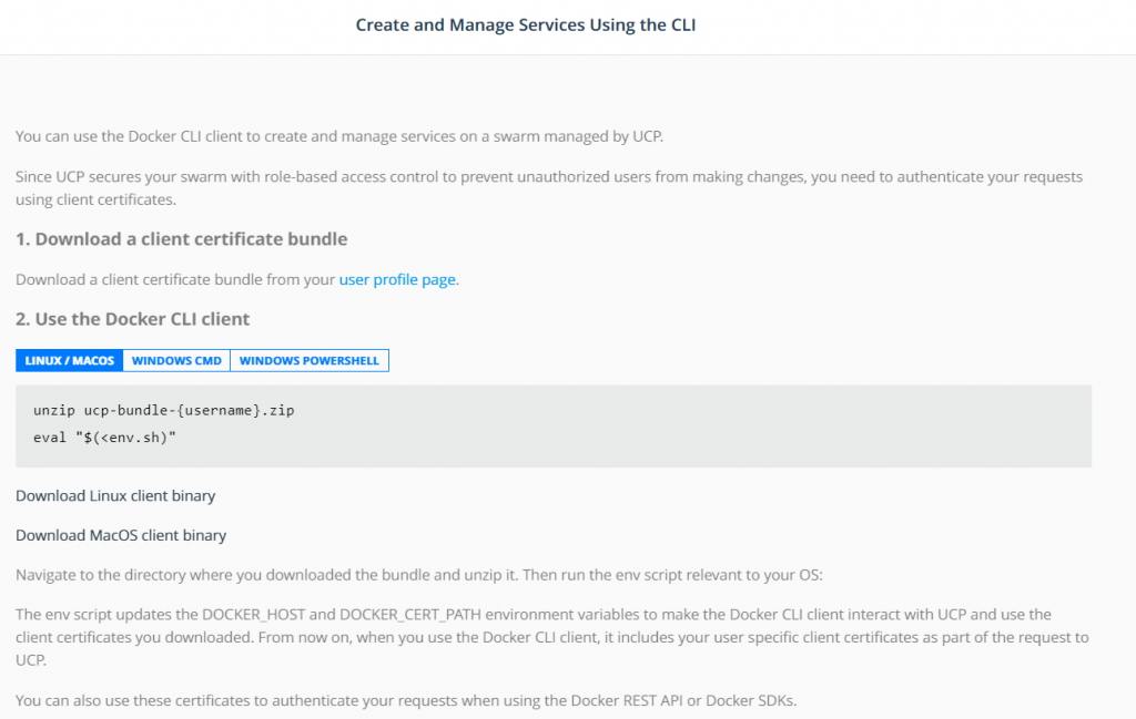 create and mange services using the CLI client bundle page