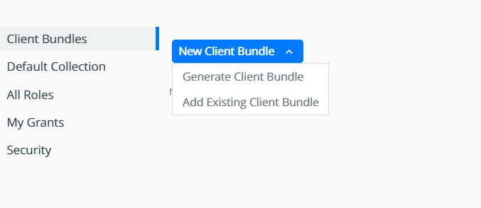 dropdown menu with options to download new client bundle or activate existing one