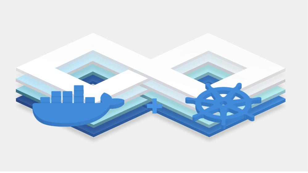 Docker Enterprise and Kubernetes logos depicted overlaying diagonal shaped stacks