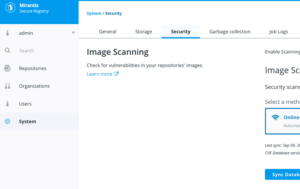 screenshot of image scanning feature in MCC dashboard