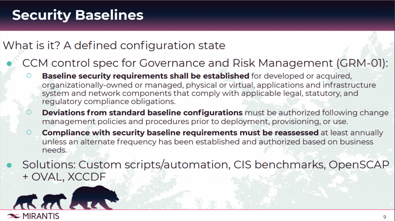 Security Baselines and Solutions