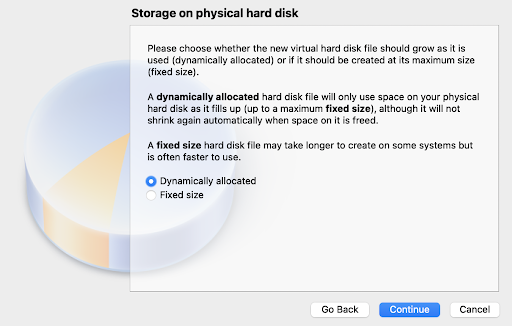 Choose Dynamically allocated storage
