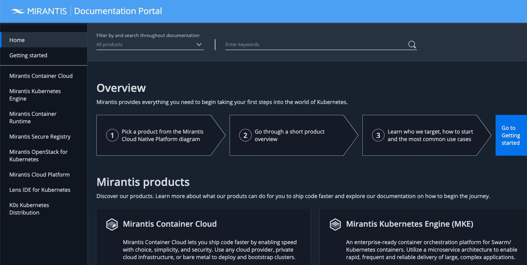 Mirantis Documentation Portal home page