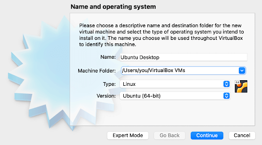 choose a name for your new VM